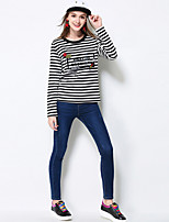 MEIDONGTAI Women's Solid Blue Skinny Pants Simple Winter