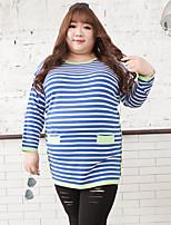 Tee-shirt Femme,Rayé Décontracté / Quotidien / Grandes Tailles simple Automne Manches Longues Col Arrondi Bleu Coton / Polyester