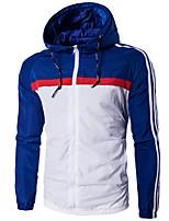 Мужчины Офис / Большие размеры / На каждый день Контрастных цветов Куртка Капюшон,Активный Зима Синий / Красный / Черный Длинный рукав,