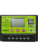 CMTD-G2410 PWM 12/24V 10A LCD Dual USB Current Display Temperature Compensation Battery Auto Regulator Solar Controller With Complete Protections