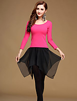 Latin Dance Outfits Women's Training Chiffon Milk Fiber 3 Pieces Black / Fuchsia / White / Light Red Top / Skirt / Pant
