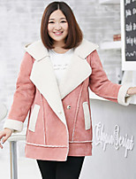 MsShe Women's Plus Size / Casual/Daily Simple JacketsSolid Hooded Long Sleeve Winter Pink / Brown Polyester Thick