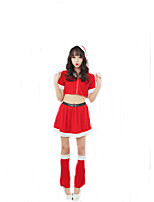 Cosplay Costumes Santa Suits Movie Cosplay Red Solid Top / Skirt / Leg Warmers Christmas Female Polyester
