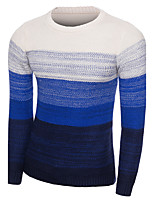 Men's Casual Slim Gradients Color Knitting Pullovers O Neck Long Sleeve Cotton Fall / Winter Medium Micro-elastic