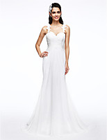 Lanting Bride® A-line Wedding Dress Sweep / Brush Train Straps Chiffon / Lace with Appliques