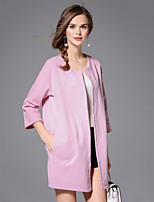 EWUS/Women's Casual / Casual/Daily Simple Trench CoatSolid Round Neck Half Sleeve Fall / Winter Pink Cotton / Polyester Thin