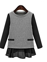 Women's Casual/Daily Plus Size Simple Cute Regular Pullover,Patchwork Black Gray Round Neck Long Sleeve Polyester Spring Fall Medium