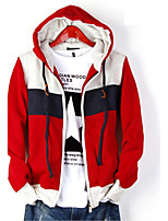 Autumn And Winter Men'S Casual Hooded Fleece Sweater Coat Color Long Sleeve