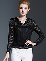 Tee-shirt Femme,Couleur Pleine Décontracté / Quotidien simple Automne / Hiver Manches Longues Col en V Noir Coton / Nylon Moyen