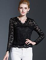 Women's Casual/Daily Simple Fall / Winter T-shirtSolid V Neck Long Sleeve Black Cotton / Nylon Medium
