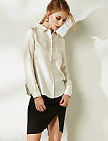 NAKED ZEBRA Women's Casual Street chic Autumn ShirtSolid Shirt Collar Long Sleeve Beige Silk