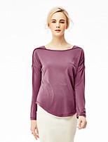 Tee-shirt Femme,Couleur Pleine Chic de Rue Printemps Manches Longues Col Arrondi Rouge / Blanc / Noir Modal