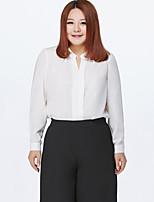 Chemisier Femme,Couleur Pleine Travail / Grandes Tailles Mignon Printemps Manches Longues Col en V Bleu / Rose / Blanc / Noir Polyester