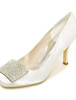 Feminino Sapatos De Casamento Plataforma Básica Primavera Verão Cetim Casamento Festas & Noite Pedrarias Salto Agulha Roxo Vermelho Azul