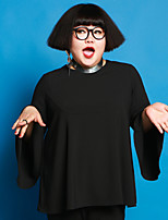 JAZZ  Women's Plus Size / Casual/Daily Simple Fall T-shirtSolid Round Neck Long Sleeve Black Polyester / Spandex