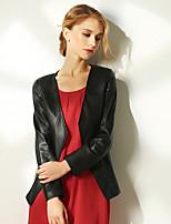 Женский Однотонный Куртка V-образный вырез,Уличный стиль Красный / Черный / Коричневый Длинный рукав,Полиуретановая