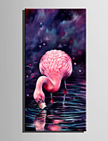 E-HOME Stretched LED Canvas Print Art Drink Red Bird LED Flashing Optical Fiber Print One Pcs