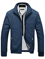 Men's Casual/Daily / Sports Active / Tops Jackets,Solid Stand Long Sleeve Spring / Autumn Blue / Black / Green Polyester