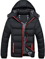 Пальто Простое На подкладке Мужчины,Однотонный На каждый день / Большие размеры Нейлон Хлопок,Длинный рукав Синий / Черный / Зеленый
