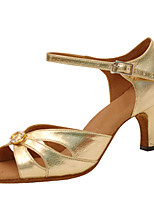 Women's Latin Faux Leather Sandals Performance Buckle Crystals/Rhinestones Cuban Heel Gold 2