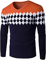 Men's Casual / Casual/Daily Simple / Tops Regular Pullover,Solid White / Black / Gray Round Neck Long Sleeve Polyester Winter / Autumn