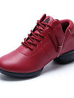 Non Customizable Women's Dance Shoes Leatherette Leatherette Dance Sneakers Heels Chunky Heel Practice Black / Red / White