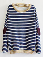 Women's Casual/Daily Street chic Regular Hoodies,Striped Blue / Black Round Neck Long Sleeve Cotton / Acrylic Winter Thick Micro-elastic