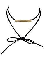 Fashion Double Layers Suede Chain Choker Necklaces Women