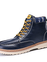 Men's Boots Spring Fall Winter Comfort Leatherette Outdoor Office & Career Casual Flat Heel Black Blue Red White