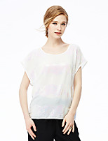 NAKED ZEBRA Women's Casual Street chic Spring BlouseEmbroidered Round Neck Short Sleeve White Polyester
