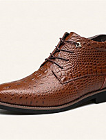 Men's Boots Spring Fall Winter Other Leather Outdoor Office & Career Casual Party & Evening Flat Heel Lace-up Black Brown Other