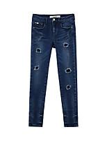 Metersbonwe Women's Solid Blue Jeans PantsStreet chic Winter