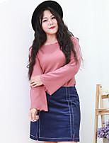 Chemise Femme,Couleur Pleine Sortie / Grandes Tailles simple Manches Longues Col Arrondi Rose Coton / Nylon