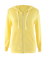 Women's Casual/Daily / Sports / Holiday Simple / Street chic / Active Regular Hoodies,Solid Orange / Yellow Hooded Long Sleeve CottonFall