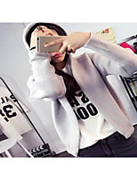 Going out Street chic Regular CardiganSolid Multi-color Shirt Collar Long Sleeve Cotton Winter Medium Micro-elastic