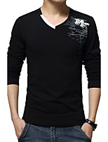 Men's Fashion Casual Slim Letter Printed Long Sleeved T-Shirt Letter V Neck Long Sleeve Blue / White / Black Cotton / Spandex Thin