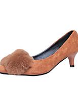 Women's Heels Fall Winter Comfort PU Casual Flat Heel Black Brown Other