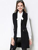 Damen Solide Einfach Lässig/Alltäglich / Übergröße Jacke,Herbst Gekerbtes Revers Ärmellos Schwarz Mittel Polyester