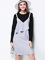MEIDONGTAI Women's Plus Size / Casual/Daily Simple A Line DressPatchwork Round Neck Above Knee Long Sleeve Gray Rayon / Polyester / SpandexFall /