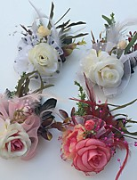 Wedding Flowers Roses Boutonnieres Wedding Party/ Evening Satin Tulle Leather