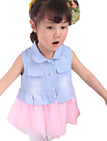 Girl's Casual/Daily Solid Dress,Denim Summer Sleeveless