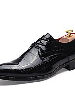 Черный-Мужской-Повседневный-Полиуретан-На плоской подошве-Удобная обувь-Туфли на шнуровке