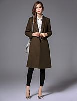EWUS/Women's Going out / Casual/Daily Boho CoatGeometric Shirt Collar Long Sleeve Fall / Winter Brown Wool / Cotton Medium