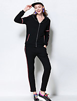 Women's Casual/Daily / Plus Size Active Fall Set Pant Suits,Striped Hooded Long Sleeve Black Cotton / Polyester Medium