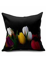 1 Stück Baumwolle/Leinen Kissenbezug,Blumen Modern/Zeitgenössisch / Akzent dekorativen