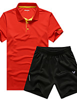 Running Clothing Sets/Suits Men's Short Sleeve Breathable / Quick Dry / Sweat-wicking Leisure Sports / Running Sports Sports Wear Stretchy
