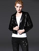 Damen Solide Einfach Lässig/Alltäglich Jacke,Herbst Gekerbtes Revers Langarm Schwarz Mittel Polyester