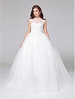 Lanting Bride® Baljurk Bruidsjurk - Elegant & Luxueus Open rug Hofsleep Bateau Tule met Appliqués / Knoop