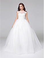 Lanting Bride® נשף שמלת כלה  - אלגנטי ויוקרתי פתוח בגב שובל קורט סירה טול עם אפליקציות / כפתור