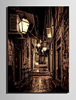 E-HOME Stretched LED Canvas Print Art Small Streets Under The Night LED Flashing Optical Fiber Print One Pcs